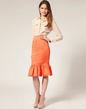 Image 1 ofASOS Ruffle Hem Pencil Skirt
