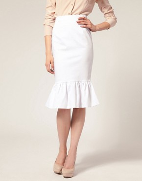Image 4 ofASOS Ruffle Hem Pencil Skirt