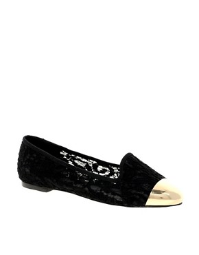 Image 1 ofASOS LIMIT Slipper Shoes With Metal Toe Cap