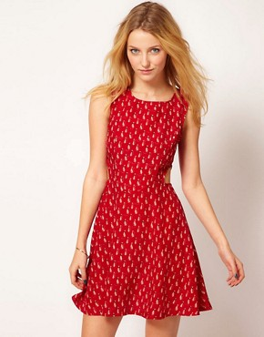 Image 1 ofAX Paris Dress In Cat Print