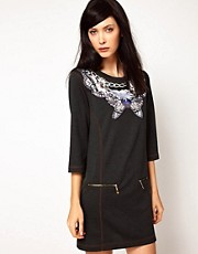 Emma Cook Sweatshirt Dress in Charcoal Butterfly Print