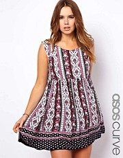 ASOS CURVE Smock Dress In Floral and Paisley Border