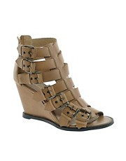 KG Mandy Tan Leather Buckled Wedges