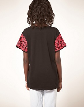 Image 2 ofASOS Tiger T-Shirt with Embroidered Sleeve
