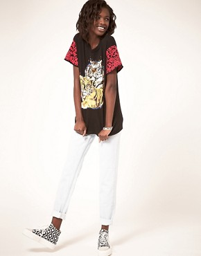 Image 4 ofASOS Tiger T-Shirt with Embroidered Sleeve