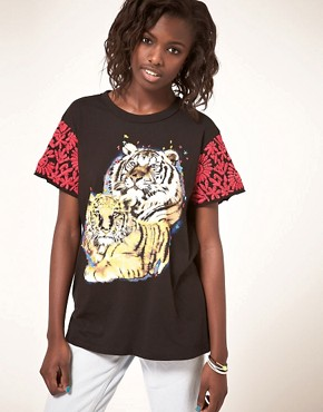 Image 1 ofASOS Tiger T-Shirt with Embroidered Sleeve