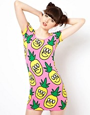 Vestido ajustado con estampado de pias de Lazy Oaf