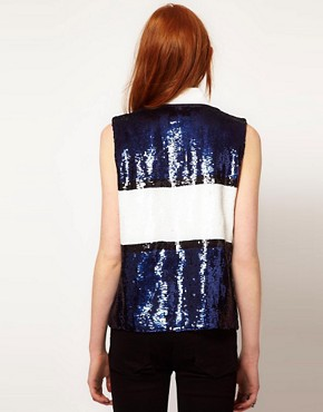 Image 2 ofADAM By Adam Lippes Sequin Sleeveless Rugby Top
