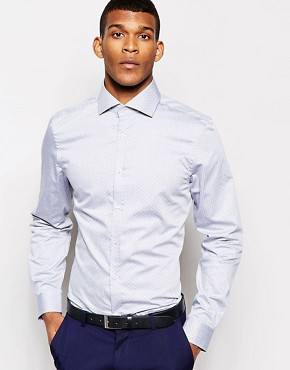 River Island Pin Dot Print Shirt with Cut Away Collar
