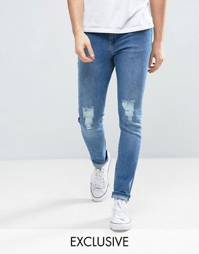 Brooklyn Supply Co Stone Washed Dumbo Jeans With Knee Slit In Skinny Fit