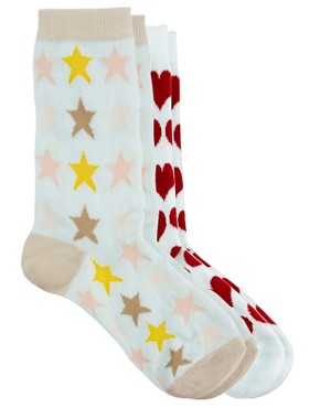 Image 2 ofPieces Two Pack Socks In Heart And Stars Print