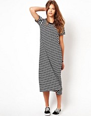 White Chocoolate Stripe T-Shirt Dress
