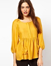 French Connection Alexa Smock Top In Silk Mix