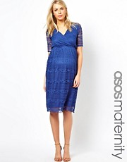 ASOS Maternity Midi Dress In Lace
