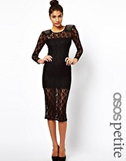 ASOS PETITE Exclusive Midi Dress In Lace With Studded Shoulders
