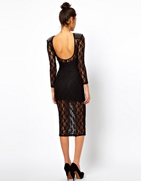 Image 2 ofASOS PETITE Exclusive Midi Dress In Lace With Studded Shoulders