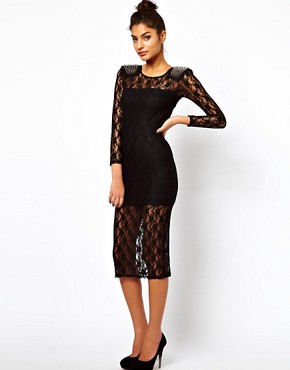 Image 4 ofASOS PETITE Exclusive Midi Dress In Lace With Studded Shoulders