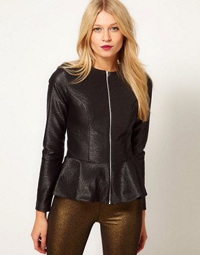 Image 1 ofOasis Matt &amp; Shine Peplum Jacket