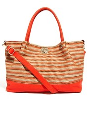 River Island Metallic Weave Smart Beach Bag