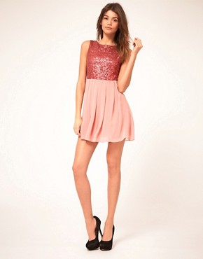 Image 4 ofTFNC Babydoll Dress With Sequin Bodice