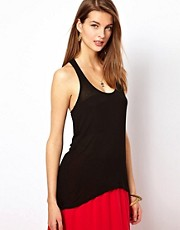 Splendid Racer Back Vest With Dipped Hem
