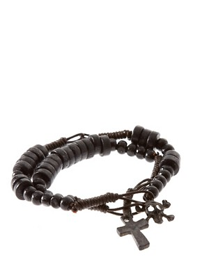 Image 1 ofASOS 2 Pack Skull Crucifix Bracelet