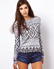ASOS Jumper In Vintage Pattern With Fringing