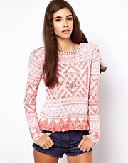 ASOS Sweater In Vintage Pattern With Fringing