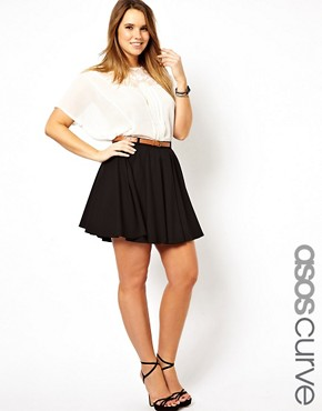 Image 1 ofASOS CURVE Exclusive Tailored Skater Skirt With Belt