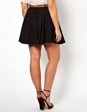 Image 2 ofASOS CURVE Exclusive Tailored Skater Skirt With Belt