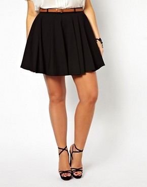 Image 4 ofASOS CURVE Exclusive Tailored Skater Skirt With Belt