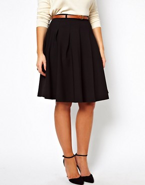 Image 4 ofASOS CURVE Midi Skirt With Belt