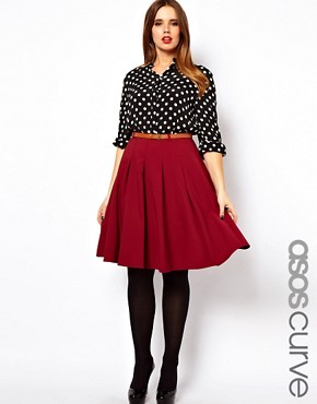 Image 1 ofASOS CURVE Midi Skirt With Belt