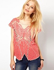 Sugarhill Boutique Cutwork and Spot Top