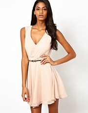 Elise Ryan Lace Back Belted Wrap Skater Dress