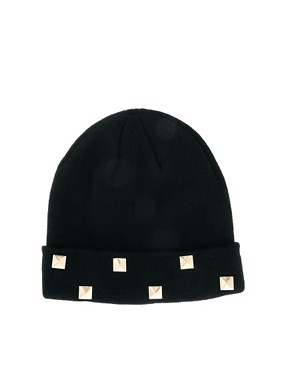 Image 2 ofASOS Boyfriend Knit Beanie With Studded Turn Up