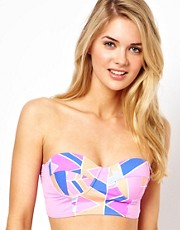 Zinke Bustier Bikini Top with Chevron Print