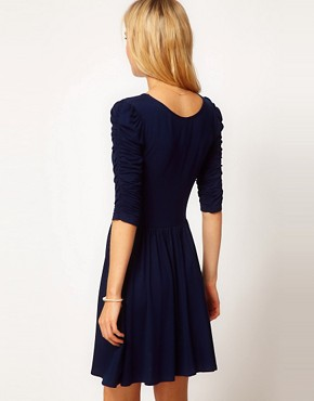 Image 2 ofASOS Skater Dress With 3/4 Ruched Sleeves