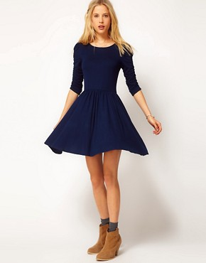 Image 4 ofASOS Skater Dress With 3/4 Ruched Sleeves