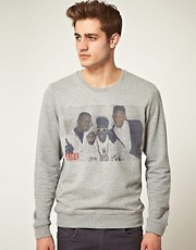 ASOS Sweatshirt With Will Smith Jazzy Jeff And Flava Flav Life Magazine Print