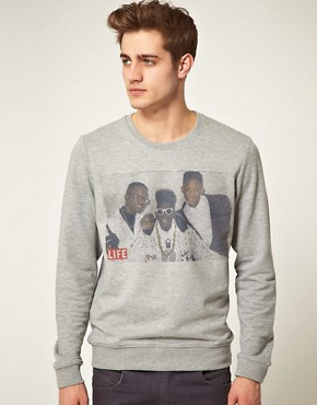 Image 1 ofASOS Sweatshirt With Will Smith Jazzy Jeff And Flava Flav Life Magazine Print