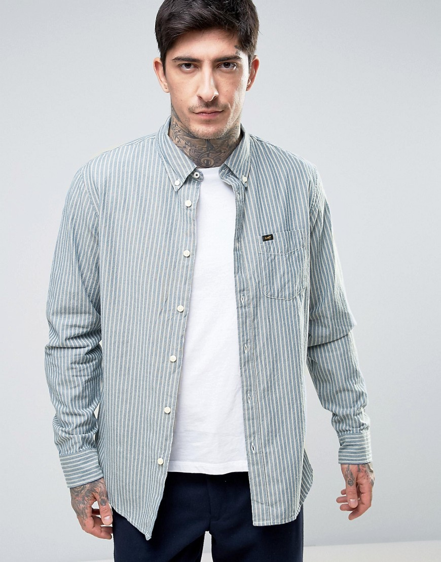 Lee Button Down Regular Fit Stripe Shirt - Night sky