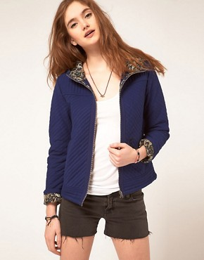 Image 1 ofASOS Paisley Lined Quilted Zip Through Jacket