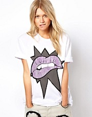 ASOS Oversized T-Shirt with Pop Art Lips Print