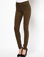 ASOS Ridley High Waisted Ultra Skinny Jeans in Dark Khaki