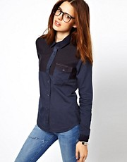 ASOS Denim Shirt with Colourblock Panels