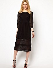 Vila Embroidered Midi Dress