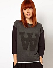 WoodWood Hope Sweatshirt with Double A in Dark Grey Mix