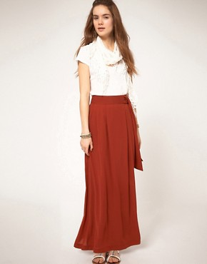 Image 1 ofA Wear Maxi Skirt With Knot Front