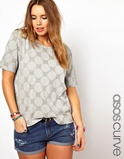 ASOS CURVE T-Shirt In Reverse Spot Print